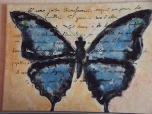 Papillon réalisé en atelier à l'acrylique en 2009 Nadia Bourgeois